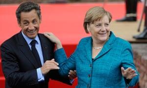Nicolas Sarkozy with Angela Merkel at G8 in Deauville