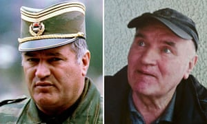 General Ratko Mladic in 1993 (left) and after his arrest on war crimes charges in Serbia