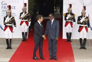 G8 Summit 2011: French President Nicolas Sarkozy, greets Guinea's President Alpha Conde