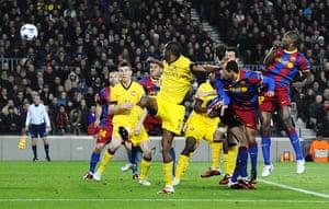 Barcelona: Arsenal's Abou Diaby (C) watches as an o