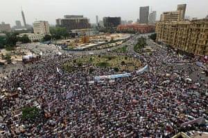 Middle East Unrest: Thousands of Egyptians pray during a demonstration in Tahrir Square