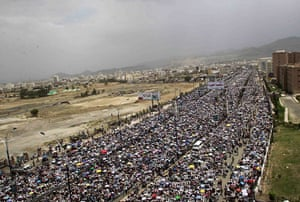 Middle East Unrest: Anti-government protesters attend weekly Friday prayers during a rally