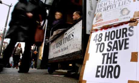 A newspaper placard in Dublin