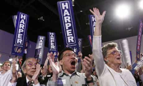 Canada's conservative party supporters cheer at election night