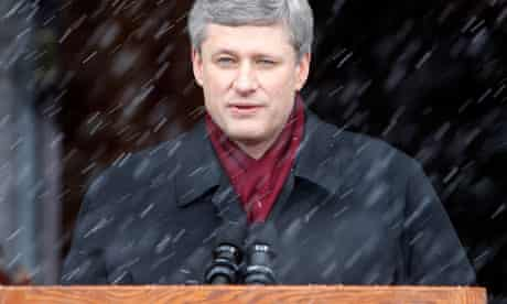 Canada's PM Harper speaks at Rideau Hall in Ottawa