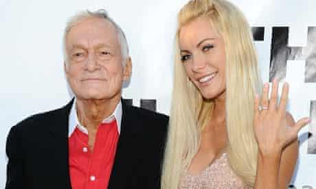 Hugh Hefner with his fiancee Crystal Harris.