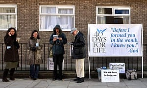 Anti-abortion campaigners picket a Marie Stopes clinic in London
