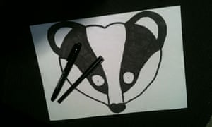 A hand-drawn badger mask