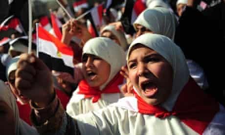 Egyptian women protesting in Tahrir Square