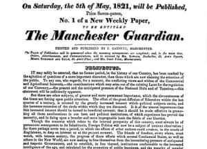 Guardian at 190 years: The Guardian 190th anniversary, Front page in 1821