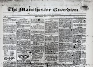 Guardian at 190 years: The Guardian 190th anniversary, Front page 1821