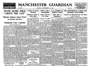 Guardian at 190 years: The Guardian 190th anniversary, Front page without ads 1952