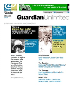 Guardian at 190 years: The first Guardian Unlimited webpage front