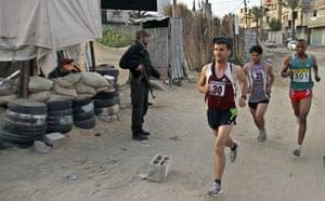 gaza marathon:  Omar Abu Said, Azmi Majaideh and  Husam Naseir