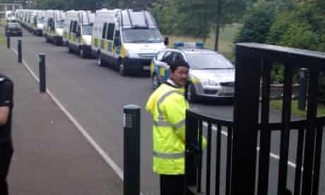 Police vans at the RBS headquarters in Edinburgh during 2010's Climate Camp   pic: Michael MacLeod