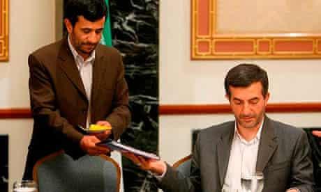 Iran's president Mahmoud Ahmadinejad with Esfandiar Rahim Mashaei