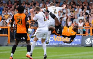 Barnet v Port Vale: Izale McLeod attempts an acrobatic effort in the 2nd half