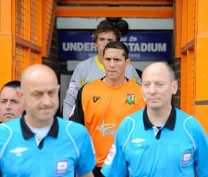 Barnet v Port Vale: Barnet captain Joe Devera looks nervous as he leads his team out