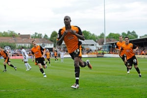 Barnet v Port Vale: Izale McLeod celebrate scoring the Barnet penalty