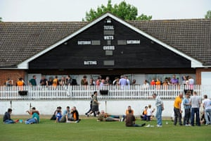 Barnet v Port Vale: Barnet fans have a drink at the cricket club before the match