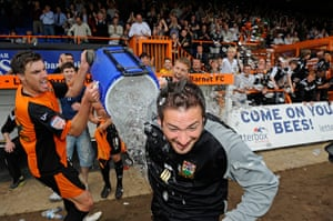 Barnet v Port Vale: Grazioli is soaked by a bucket of ice thrown by centre-back Daniel Leach