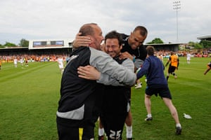 Barnet v Port Vale: Guiliano Grazioli is mobbed by his assistants