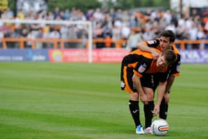 Barnet v Port Vale: Sam Deering and Mark Byrne take their time with a free-kick