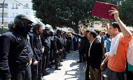 Riot police block Avenue Bourguiba in Tunis