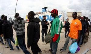 African immigrants arrive in Taranto