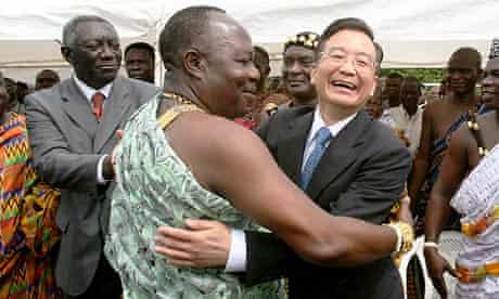 Chinese PM Wen Jiabao with local leader in Ghana and John Kufor, former president