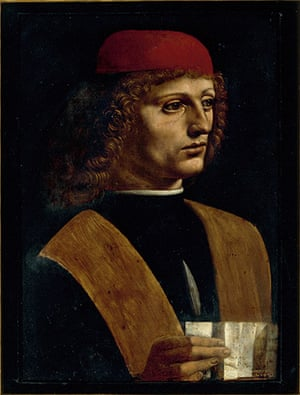 leonardo da vinci : Portrait of a Musician, about 1485-8 by Leonardo
