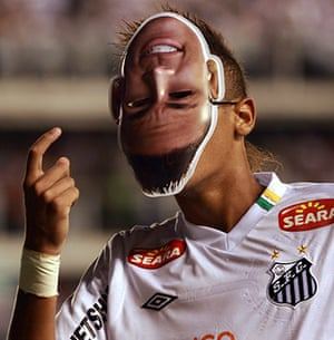 Top 50 transfer targets: Santos' Neymar with a mask of himself after scoring against Colo Colo