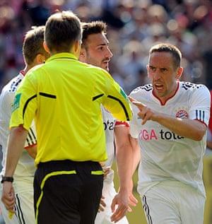 Top 50 transfer targets: Bayern Munich's Franck Ribery talks to referee Jochen Drees