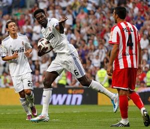 Top 50 transfer targets: Real Madrid's Emmanuel Adebayor celebrates after scoring against Almeria