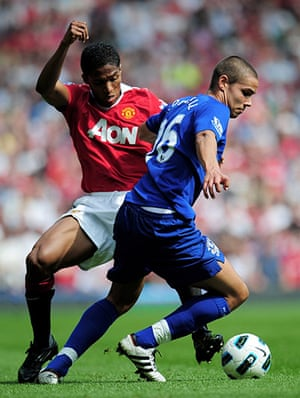 Top 50 transfer targets: Manchester United's Antonio Valencia closes down Everton's Jack Rodwell