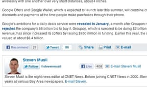Twitter's new follow button on the CNET site