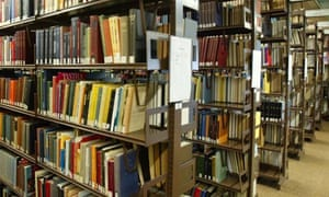Shelves of books in the library of Leicester University.