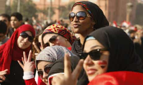 Egyptian women in Tahrir Square during the 18-day protest that toppled the Mubarak regime.