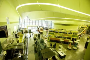 Riverside Museum Glasgow: an interior view of trams and trains