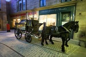 Riverside Museum Glasgow: a horse-drawn hearse