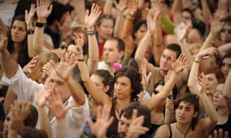 Demonstrators in the Puerta del Sol square in Madrid at the weeken