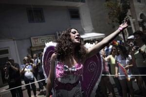 Gay Pride in Tel Aviv: A member of the Israeli gay community performs