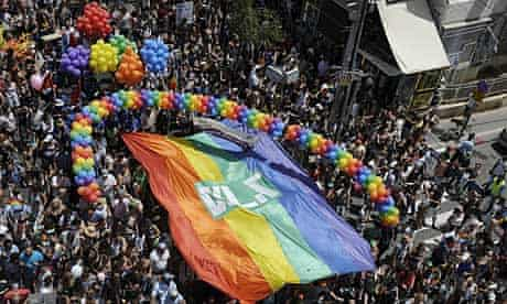 Thousands of people take part in the annual Gay Pride parade in Tel Aviv