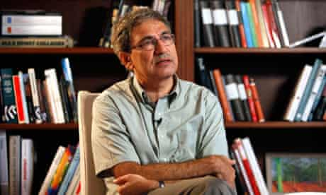 Nobel-winning Turkish author Pamuk speaks during an interview with Reuters in Istanbul