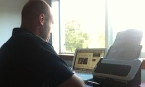 Simon Jeffery scanning the Sarah Palin emails