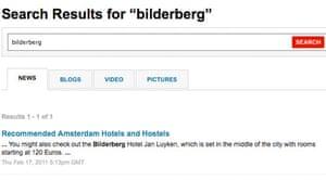 Screengrab for Bilderberg search