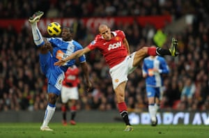 Unwanted players transfer: Hendry Thomas of Wigan battles Gabriel Obertan of Manchester United