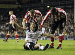 Unwanted players transfer: Tottenham's David Bentley reacts after a challenge in the penalty box
