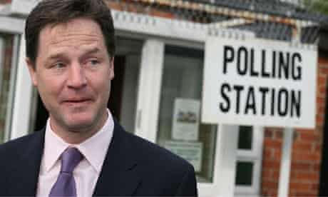 Nick Clegg arrives to cast his vote on 5 May