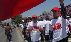 Supporters of former mayor of Tijuana Jorge Hank Rhon